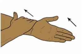 قرار دادن کف دست به طرف بالا با کمک فعال برای درمان دررفتگی مفصل آرنج