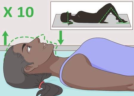 تمرین انقباض چانه برای درمان قوس گردن